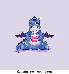 emoticon, café, apenas, copo, adesivo, personagem, cima, dragão, dinossauro, vetorial, caricatura, woke, emoji