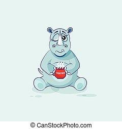 emoticon, café, apenas, copo, adesivo, personagem, isolado, ilustração, cima, rinoceronte, caricatura, woke, emoji