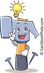 emoticon, caractère, idée, avoir, marteau, dessin animé
