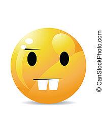 emoticon, caractère, jaune