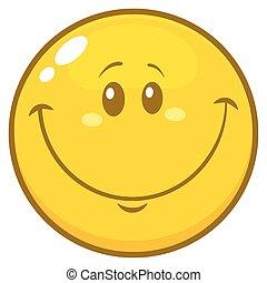 emoticon, caractère, type caractère jaune, sourire, dessin animé