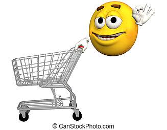 emoticon, carro shopping