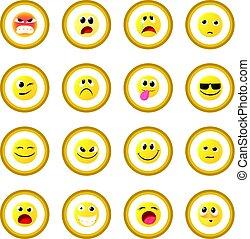 emoticon, cerchio, icona