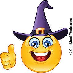 emoticon, chapeau, sorcière