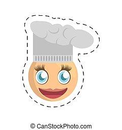 emoticon, chef cuistot, image, femme
