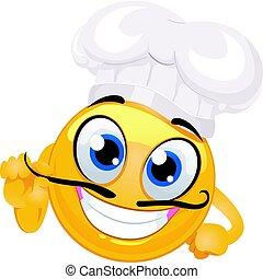emoticon, chef cuistot, smiley, moustache