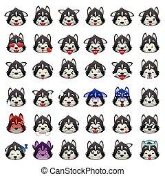 emoticon, chien, chiens traîneau sibériens, expression, ...