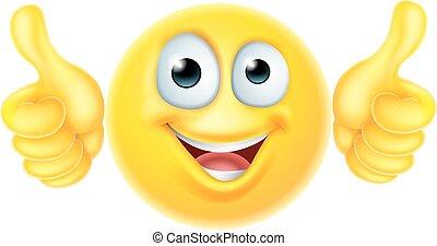 emoticon, cima, polegares, emoji