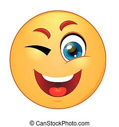 emoticon, cligner