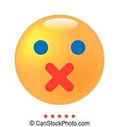 emoticon, colorare, differente, silenzio, icona