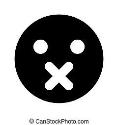 emoticon, colorare, nero, silenzio, icona