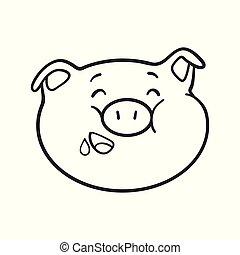 emoticon, coloration, affamé, book., cochon, icon., emoji