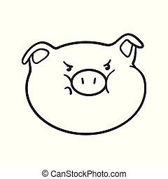 emoticon, coloration, fâché, book., cochon, icon., emoji
