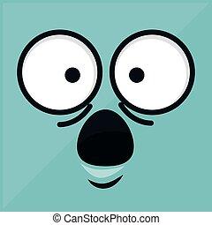 emoticon, com, rosto, surpresa, ícone