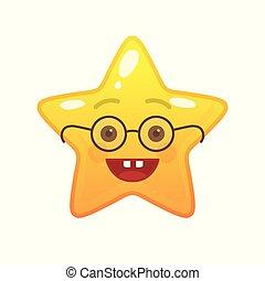 emoticon, comique, étoile, egghead, formé