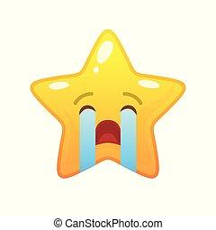 emoticon, comique, étoile, pleurer, formé