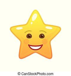 emoticon, comique, étoile, rire, formé