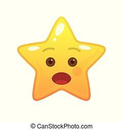 emoticon, comique, étoile, surpris, formé