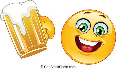 emoticon, con, birra