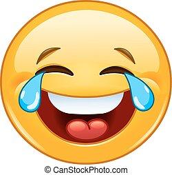 emoticon, con, lacrime di gioia