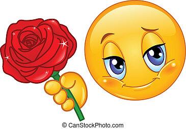 emoticon, con, rosa