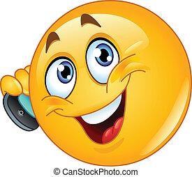 emoticon, con, teléfono celular