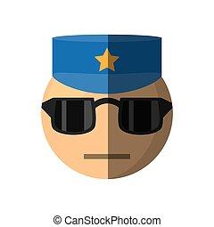 emoticon, conception, dessin animé, policier