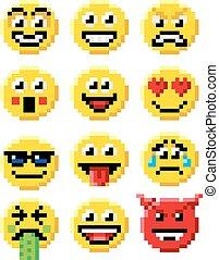 emoticon, conjunto, arte, pixel, emoji