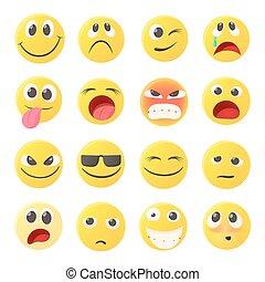emoticon, conjunto, estilo, caricatura, iconos