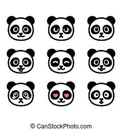 emoticon, conjunto, panda