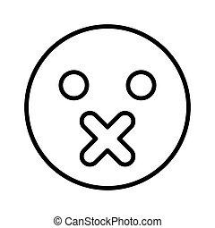emoticon, cor, pretas, silêncio, ícone