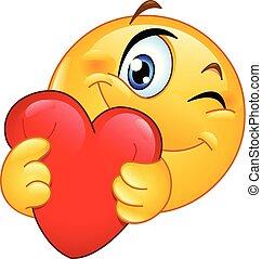 emoticon, coração, abraçando
