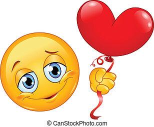 emoticon, coração, balloon