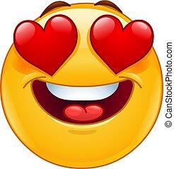 emoticon, coração, olhos, face sorridente
