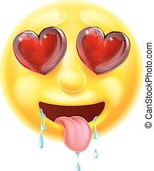 emoticon, corazón, ojos, emoji