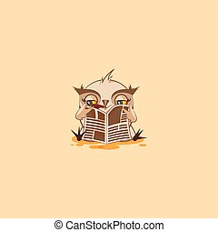 emoticon, coruja, adesivo, charuto, jornal, leitura