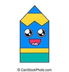 emoticon, crayon, fasciné, vecteur, figure