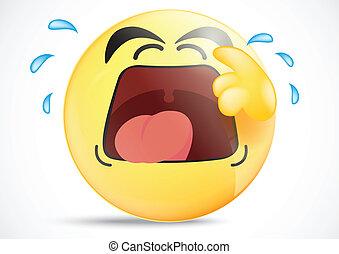 Emoticon Crying Loud - Vector Illustration Of Emoticon...