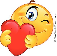 emoticon, cuore, abbracciare