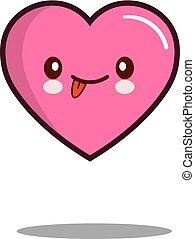 Emoticon cute love heart cartoon character icon kawaii Flat design Vector