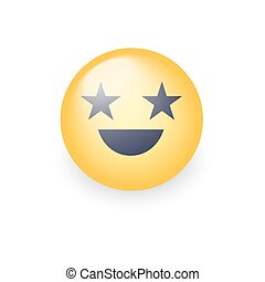 emoticon, cute, olhos, forma, stars., smiley, face amarela, aplicação, vetorial, rir, conversa, divertimento, feliz, smile., caricatura, emoji