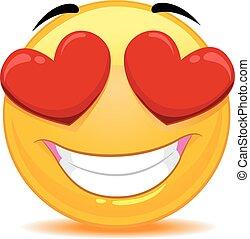 emoticon, czuły, miłość, smiley