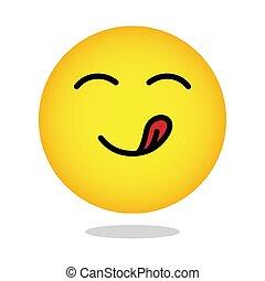 emoticon, délicieux, gourmet, face., smiley, affamé, jaune, goûter, vecteur, bouche, langue, apprécier, emoji