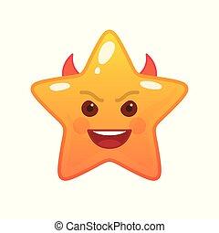 emoticon, démoniaque, étoile, comique, formé