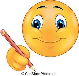 emoticon, dessin animé, écriture