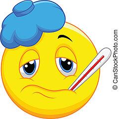 emoticon, dessin animé, malade