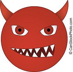 emoticon, diavolo, -, smiley, demone, /, ghignando, vettore...