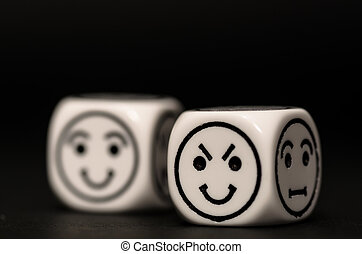 emoticon dice with cunning and happy expression sketch on...