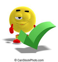 emoticon, divertente, dice, checkmark, sì, fresco