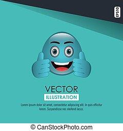 emoticon, divertente, disegno
